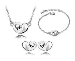 2019 afrikanischer smaragdring Armbänder Ohrringe Halsketten Mode Österreich Zirkon Kristall Halskette + Ohrringe + Armband Liebe Herz Schmuck Set Diamant Frauen Schmuck -p