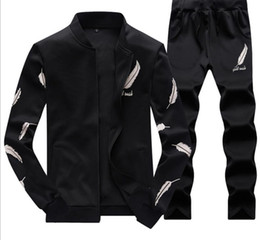 2019 vestes de conception en plumes Mens Baseball Jacket Pants Survêtements Sports Adolescent Vêtements Ensembles Fashion Plume Conception Costumes Imprimés vestes de conception en plumes pas cher