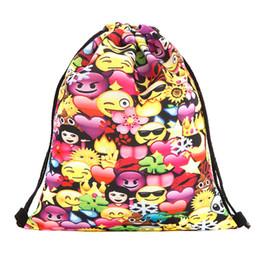 Ropa de dibujos animados emoji online-39x30 cm Harajuku Cute Cloth Drawstring Bags Lienzo Kawaii Cartoon Emoji Bolsas de almacenamiento Mochila impresa 3d bolsa de regalo