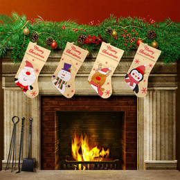 christmas gift boot Promo Codes - Cartoon Christmas Stocking Christmas Gift Bag for New Year Cute Boot Shape Decoration Socks Ornaments decorazioni casa natale
