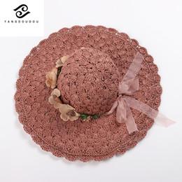 Yangdoudou Summer Boater Cappelli Donna Cappello di paglia di carta con cappello femminile di fiori e nastri di seta da