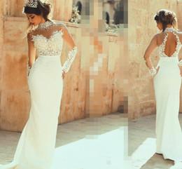 Canada Col haut manches longues robes de mariée sirène dos ouvert sexy voir à travers la dentelle appliques perles Liban robes de mariée mariée dos nu cheap lebanon wedding gown Offre