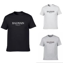 2019 die grundlegenden t-shirts der männer Balmain Mens Designer T Shirts Schwarz Weiß Grau Mens Fashion Designer T Shirts Top Kurzarm Kurzarm S-XXL günstig die grundlegenden t-shirts der männer