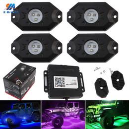 luzes do chassi Desconto YM E-Brilhante 1 Conjunto (4 PCS) LEVOU Farol 12 W RGB Bluetooth Controle Sem Fio APP Chassis Light Deck Luzes Atmosfera Lâmpadas 12 V 24 V
