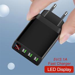 adaptador hdmi android Desconto Adaptador de LED visor do telefone carregador de 3 portas USB preto branco Rápido Adaptive Eu US UK Travel Recados carregador de energia para telefone celular