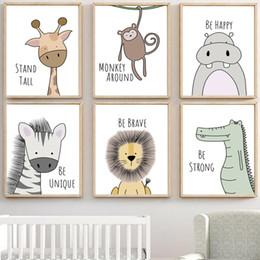 2019 arte da lona do leão Zebra Hipopótamo Girafa Leão Crocodilo Do Berçário Da Arte Da Parede Da Lona Pintura Nordic Cartazes E Cópias Da Parede Pictures Bebê Crianças Decoração Do Quarto arte da lona do leão barato