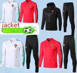 Tazze piene online-RONALDO giacca da calcio 2019 Coppa del mondo veste giacca con cerniera piena 19/20 Survetements RONALDO Giacca allenamento calcio rosso bianco