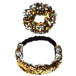 girls sequin ties Promo Codes - Fashion Women Headbands Reversible Sequins Headband Elastic Wide Hair Bands Glitter Hair Ties Girls Hair Accessories