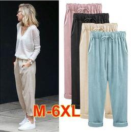 Canada Coton et lin femmes Seven Nine Harem Pant Plus Size en vrac confortable mince pantalon en lin pour les femmes M - 6XL Nine Minute of Pants Offre
