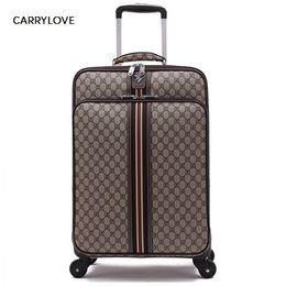 24 maletas rodando online-CARRYLOVE moda Noble clásico de alta calidad 16/20/22/24 Pulgada PVC Equipaje Spinner marca de negocios Maleta de viaje