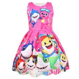 Meninas bebê tubarão vestido sem mangas colete saia nova crianças adorável tubarão dos desenhos animados vestido de festa curto bebê saia noite roupas de