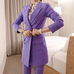 6de0070acf Nueva llegada de las mujeres temperamento profesional de doble botonadura  moda traje largo sólido estilo de trabajo pantalón delgado pantalón cómodo  trajes ...