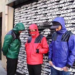 Herren-oberbekleidung online-Hiphop Herren Leder Mäntel Patchwork Farbe Mit Kapuze Langarm Paare Oberbekleidung Mode Lose Designer Herrenbekleidung