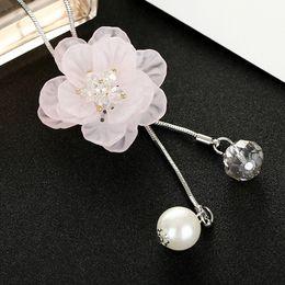2020 perlenhalskettenmuster Frauen-Harz-Blumen-Muster-Halskette Spiel Mädchen lange Perlen-Strickjacke-Halsanhänger Kette Schmuck günstig perlenhalskettenmuster