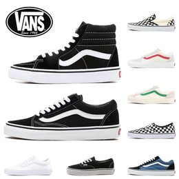 стильные ботинки холста Скидка 2020 New Vans Classic old skool black white FEAR OF GOD red buble canvas mens sport sneakers fashion Designer casual shoes 36-44