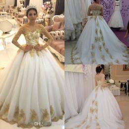 arabische moslemische kleider Rabatt 2019 Gold Pailletten Langarm Ballkleid Brautkleid Dubai Arab Luxus Schulterfrei Plus Size Brautkleid Nach Maß