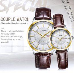 2019 longbo watch woman LONGBO 2019 Couple Watch  Quartz Women Men's Watches Montre Homme Leather Strap Waterproof Gift For a Man Clock Relogios дешево longbo watch woman