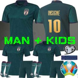 Copa de futbol online-MAN + KIDS 2019 2020 ITALIA Copa de Europa de fútbol Jersey 19 20 verde oscuro Jorginho El Shaarawy BONUCCI INSIGNE Bernardeschi las camisas del fútbol