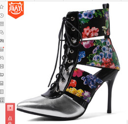 43a0b6fa609e new style large size 34-43 yards of lacquer-leather lace-pattern boots  super high-heeled shoes spring summer Sandals Night club party dance  discount boots ...