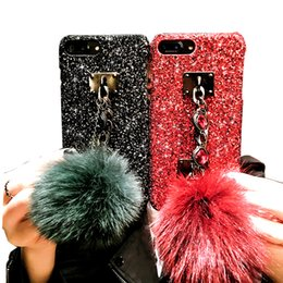 fuchs iphone telefon fall Rabatt Luxus glänzend 3D-Diamant-Edelstein-Armband fashion Fuchspelz Kugel matt Abdeckungsfall für iphone MAX XS 7 8 plus X Telefonkästen