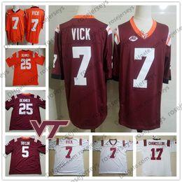 Bruce red on-line-Personalizado Virginia Tech Hokies # 7 Michael Vick 5 Tyrod Taylor 17 Chanceler Kam 25 Frank Beamer 78 Vermelho Bruce Retired Jersey 4XL
