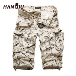 2865fb9b56494 HANQIU Coton Mens Cargo Shorts Mode Camouflage Homme Short Multi-Poche  Casual Camo Extérieur Tolling Homme Pantalon Court