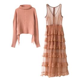 Pièce robe de bal rose en Ligne-Nouvelle Arrivée 2019 Automne Marque Même Style Deux Pièce Dress Pull Robe Dress Mesh Empire Fashion Prom Womens Vêtements RENJIE