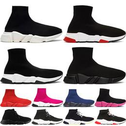 2019 vestir zapatos de ballet Calcetín del zapato de velocidad de punto Formadores Casual zapatillas de deporte Speed Trainer calcetín raza negra Moda Calzado Hombres Mujeres Calzado deportivo Tamaño 36-45
