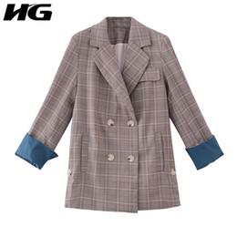 Corea femminile online-HG Lattice Suit Jacket Female 2019 Autumn New Retro Coat Doppio petto Blazer Donna Corea Style Allentato Abbigliamento femminile ZYQ1212