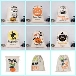 2019 sacchi di stoccaggio di cotone Sacchetto di caramelle di Halloween Zucca festa in maschera festa di stoffa di cotone borsa per bambini Sacchi con coulisse borse teschio diavolo stampa ragno Borse di stoccaggio LXL314 sconti sacchi di stoccaggio di cotone
