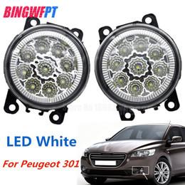 Faróis de nevoeiro dianteiros on-line-2 PCS LED Luzes de Nevoeiro Da Frente Para Peugeot 301 2013-2017 Car Styling Rodada Bumper halogênio nevoeiro lâmpadas