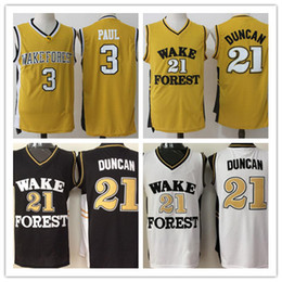 Camisas de basquete baratos mens on-line-Mens Wake Forest Demon Demon dióculos Faculdade Basquete Jerseys Tim Chris Paul Camisas Barato Universidade Costura Basquete Jersey S-XXL