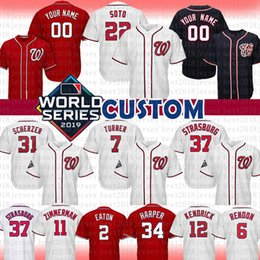 2019 camisola de basebol de flanela 22 JUAN SOTO 7 TREA TURNER 31 Max Scherzer 37 Stephen Strasburg jérsei feito sob encomenda Nationals 2019 World Series WS Baseball Jersey
