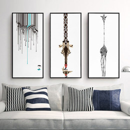 triptych canvas prints Coupons - Triptych Abstract Decorative Painting Living Room Modern Unframed Art Black And White Zebra Personality Giraffe Canvas Paintings