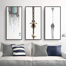 zebra animal da lona de arte Desconto Tríptico Abstrato Decorativo Pintura Sala de estar Moderna Arte Sem Moldura Preto E Branco Zebra Personalidade Girafa Canvas Pinturas