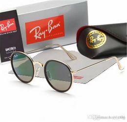 lados de cuero gafas Rebajas Vintage pequeña abeja Letter Gafas de sol redondas Hombres Mujeres cortinas de la manera gafas de sol Gafas de 2018 Colores retro unisex Gafas de sol BOX