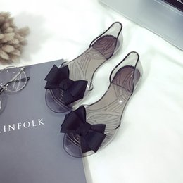 e883fd43b flat jelly sandals bows Coupons - Summer New Women Bow Flower sandal Jelly  Beach Casual Sandals
