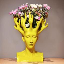 2019 керамические фигурки Мужская голова керамическая ваза для декора дома настольная ваза дешево керамические фигурки