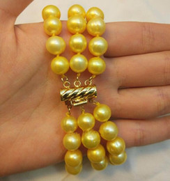 Perlas de triple hebra mar del sur online-Jewelryr Pearl Bracelet Triple strands 9-10MM SOUTH SEA GOLD PEARL BRACELET Gold Envío gratis