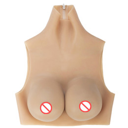 silicone breasts crossdresser Promo Codes - D cup Zipper style high neck silicone breast form for crossdresser man cosplay realistic fake boobs