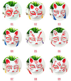 Raposa máscara on-line-Cat Fox Shape Masks Japanese PVC Fox Party Masks Masquerade Cosplay Party Supplies Plastic Half Face Halloween Mask GGA2049