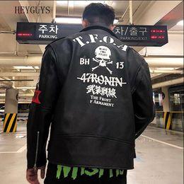 2019 original lederjacken Original Herbst Winter Straße Marke Retro Männer punk Stil Lederjacke Bewaffnete vordere Stickerei Schädeldruck Bomber Outwear Mäntel günstig original lederjacken