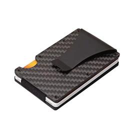 Ladrón ladrones online-2019 New Metal Mini Money Clip Marca Moda Fibra de carbono Negro Titular de la tarjeta de crédito con RFID Anti-ladrón Monedero hombres