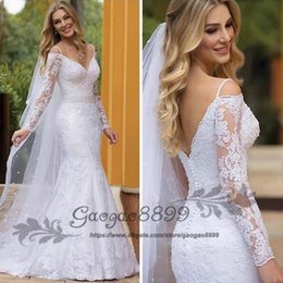 veil off white Promo Codes - 2019 new modest long Sleeve Lace off shoulder Mermaid Wedding Dresses Appliques Beaded Bride Dresses covered button with veil Wedding Gowns