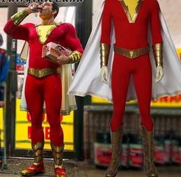 2019 costumi personalizzati su supereroi 2019 Movie Shazam! Tuta operata su ordine del costume del supereroe Shazam dei costumi di Halloween del costume cosplay Trasporto libero costumi personalizzati su supereroi economici
