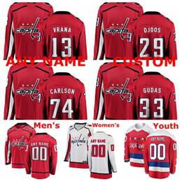 Camisetas de hockey carlson online-Jerseys de Washington Capitals Jersey Jakub Vrana John Carlson Christian Djoos Radko Gudas Rojo Blanco Jerseys de hockey sobre hielo cosidos a medida