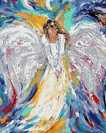 Anjos da pintura a óleo on-line-Cor Anjo Tinta Número Coloração Por Números Para A Decoração Para Casa Imagem Pintura A Óleo Da Lona J190707