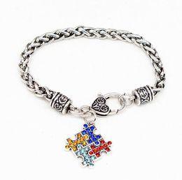 pulseira de quebra-cabeça de autismo Desconto Autismo Consciência Jigsaw Bracelet Puzzle Esmalte Quadrado Cadeia Colorido Moda Infantil Jóias Novidade Itens Presentes Do Partido H148