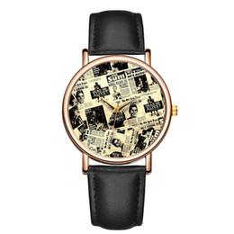 relógio de formulário Desconto Moda casual Retro Jornal formulário padrão de discagem vestido de luxo Cinto Ms Quartz watch