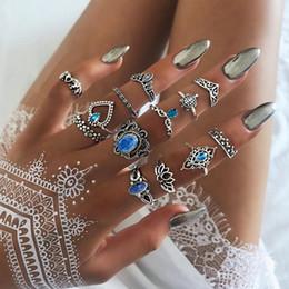 Lotusringe online-5 Satz Europäischen und Amerikanischen mode Ringe Set Vintage Silber Schildkröte kreuz lotus Fingerknöchel Ringe für Frauen Schmuck geschenk